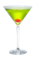 The Midori Martini cocktail is made from Midori melon liqueur, gin and dry vermouth, and served in a chilled cocktail glass.