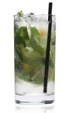 The Mint Fresh is a green drink made from Patron tequila, brandy, orgeat syrup, lemon, mint and club soda, and served over ice in a highball glass.