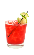 The Passion Fruit Punch is a red colored drink made from Smirnoff passionfruit vodka, cranberry, pineapple and grapefruit jucie, bitters and lemon-lime soda, and served over ice in a rocks glass.