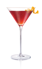 The Peach Martini cocktail is made from Stoli Peachik peach vodka, triple sec, cranberry juice, lime juice and bitters, and served in a chilled cocktail glass.