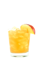 The Peaches and Cream is a yellow drink made from Smirnoff whipped vodka, peach schnapps, peach puree and sweet & sour mix, and served over ice in a rocks glass.