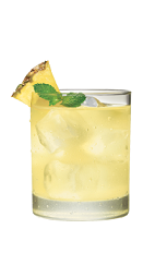 The Pineapple and Soda is a yellow colored drink made from Smirnoff pineapple vodka, club soda, pineapple and mint, and served over ice in a rocks glass.