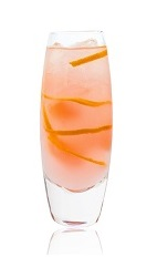 The Pink Pamp is a pink colored drink made from Joseph Cartron pink grapefruit liqueur, chilled rosé wine, lemonade and grapefruit, and served over ice in a highball glass.