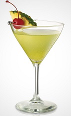 The Pride Martini recipe is made from Seagram's Pineapple Twisted gin, pineapple schnapps, apple schnapps and lemon-lime soda, and served in a chilled cocktail glass.