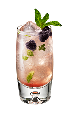 The Riviera Mojito drink is made from Chambord flavored vodka, limoncello, simple syrup, mint leaves and raspberries, and served in a highball glass.