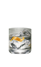 The Root Beer on the Rocks drink is a clear colored drink made from Smirnoff Root Beer vodka and orange, and served over ice in a rocks glass.