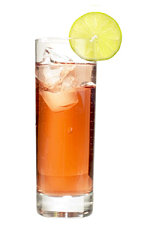 The Rusoposki drink recipe is an orange colored cocktail made from Chymos Lingonberry wine, apple-vanilla liqueur and tonic water, and served over ice in a highball glass garnished with a lime slice.