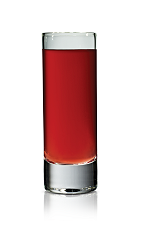 The Salted Pomegranate is a red shot made from Stoli Salted Karamel vodka and pomegranate juice, and served in a chilled shot glass.