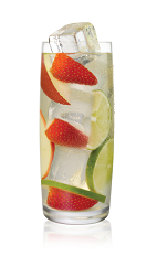 The Sangria Apple is made from Stoli Gala Applik apple vodka, white wine, white cranberry juice and fresh fruit, and served over ice in a highball glass.