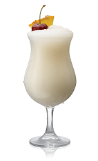 The Select Pina Colada is a cream colored cocktail made form Bacardi rum, pineapple juice and coconut cream, and served in a chilled parfait glass.