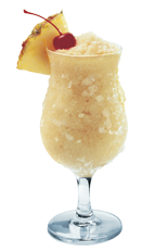The SoColada is a yellow drink made from Southern Comfort, coconut milk, guava juice, peach schnapps and pineapple, and served in a chilled hurricane glass.