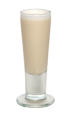 The Spiked Milkshake is a brown-colored shot made from Smirnoff Root Beer Float vodka, light rum, half and half and maple syrup, and served in a chilled shot glass.
