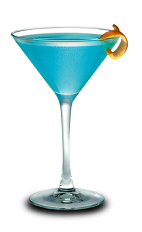 The Gin Blossom is a blue colored cocktail made from Hpnotiq liqueur, gin, lemon juice and champagne, and served in a chilled cocktail glass.