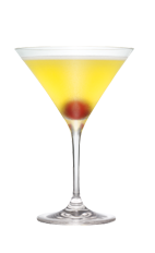 The Ringer cocktail is made from Smirnoff coconut vodka, hazelnut liqueur, pineapple juice and sour mix, and served in a chilled cocktail glass.