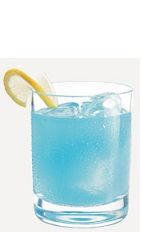 The Tropical Bliss is a blue colored drink recipe made from Burnett's blue raspberry vodka, coconut rum and lemon-lime soda, and served over ice in a rocks glass.