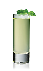 The Va-Va shot is made from vanilla vodka, pineapple juice and fresh mint, and served in a chilled shot glass.