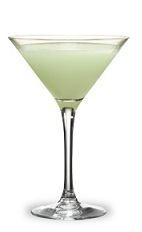 The Vodka Stinger is a green cocktail made from creme de menthe and vodka, and served in a chilled cocktail glass.