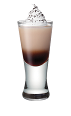 The Whipped Java shot is made from Smirnoff Whipped Cream vodka, Bailey's Irish cream and whipped cream and chocolate shavings, and served in a chilled shot glass.