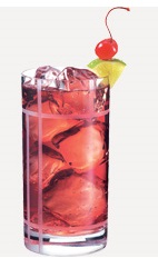 The Whipt Breeze drink recipe is made from Burnett's whipped cream vodka and cranberry juice, and served over ice in a highball glass.