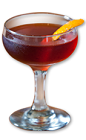 The 1873 Manhattan is a classy cocktail made from Wild Turkey bourbon, sweet vermouth, simple syrup, orange curacao, bitters and lemon, and served in a chilled champagne coupe.