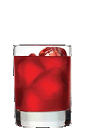The Razzmatazz is a vibrant red colored drink recipe made from Three Olives raspberry vodka, cranberry juice and club soda, and served over ice in a rocks glass.
