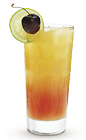 The 9 Rise drink recipe is an orange colored delight made from Cruzan 9 spiced rum, orange juice and grenadine, and served over ice in a highball glass.