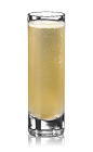 The Air Mail shot is made from Bacardi gold rum, lime juice, honey and champagne, and served in a chilled shot glass.
