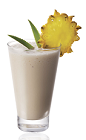 The Amarula Colada is a cream colored drink made from Amarula cream liqueur, white rum, pineapple juice and coconut cream, and served in a highball glass with pineapple.