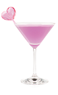 The Bachelorette Blush is a classy purple cocktail made from Hpnotiq Harmonie liqueur, cherry vodka and lemon-lime soda, and served in a chilled cocktail glass.