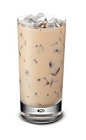 The Bailey's Iced Coffee is a brown colored drink made from Bailey's Irish cream, coffee and ice, and served in a highball glass.