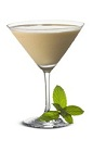 The Bailey's Martini is a brown colored cocktail made from Bailey's Irish cream, vodka and mint, and served in a chilled cocktail glass.