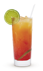 The Bay Breeze is an orange and red drink made from Cruzan rum, pineapple juice and cranberry juice, and served over ice in a highball glass.