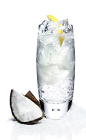 The Blizzard Malibu drink is made from Malibu coconut rum, Sprite lemon-lime soda, lemon juice and coconut, and served over ice in a highball glass.