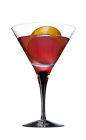 The Blood Orange Martini is a red cocktail made from Smirnoff orange vodka, orange bitters, orange juice and cranberry juice, and served in a chilled cocktail glass.