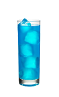The Blue Breeze 1 is a blue drink made from Smirnoff whipped cream vodka, blue curacao and lemon-lime soda, and served over ice in a highball glass.