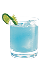 The Blue Bullet is a blue drink made from Hpnotiq liqueur, tequila and club soda, and served over ice in a rocks glass.