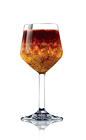 The Brazilian Sangria cocktail recipe is made from Lucid absinthe, cachaca, brandy, orange liqueur, red wine, orange, apple and lemon, and served in a chilled wine glass.