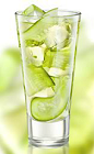 The Brisk Cucumber is a refreshing digestif drink recipe made from Zubrowka Bison Grass vodka, apple juice and cucumber, and served over ice in a highball glass.