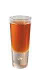 The Cajun Thunder is a spicy brown colored shot made form Southern Comfort, bourbon and Tabasco, and served in a chilled shot glass.