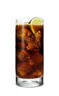 The Campfire Cola is a brown drink made from Smirnoff Fluffed Marshmallow vodka, cherry juice and cola, and served over ice in a highball glass.