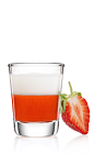 The Cheeky Swirl Shot is a red and white dessert shot that goes well with anything sweet, or on its own to start a party. Made from Malibu Swirl strawberry & whipped cream coconut rum, whipped cream and a strawberry, and served in a chilled shot glass.
