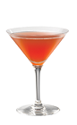 The Cheesecake Martini is a red cocktail made from Smirnoff strawberry vodka, vanilla vodka and cranberry juice, and served in a chilled cocktail glass.