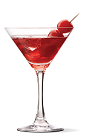 The Cherry Cheesecake cocktail recipe is a red colored dessert drink made from UV vanilla vodka, cranberry juice and grenadine, and served in a chilled cocktail glass.
