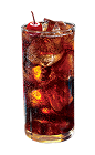 The Cherry Cola SoCo is a brown colored drink made from Southern Comfort Bold Black Cherry and cola, and served over ice in a highball glass.