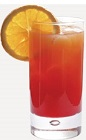 The Cherry Kiss is an orange colored drink recipe made from Burnett's gin, maraschino liqueur, pineapple juice and grenadine, and served over ice in a highball glass.