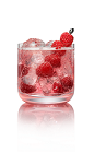 The Choco Raz Holiday Fizz drink is made from Stoli Chocolat Razberi vodka, agave nectar, club soda and raspberries, and served in an old-fashioned glass.