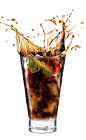 The Cola Danger drink is made from Malibu Red, Coca-Cola and lime, and served over ice in a highball glass.