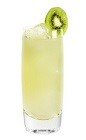 The Cucumber Coconut Palm is made from Effen cucumber vodka, coconut water, kiwi, lemon juice and simple syrup, and served over ice in a highball glass.