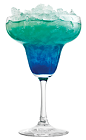 The Frozen Blue Daiquiri is an elegant blue cocktail made from Rose's blue curacao cordial, Rose's lime cordial and rum, and served over ice in a margarita glass.