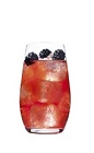 The Grand Berry is a fruity red drink made from Grand Marnier orange liqueur, cranberry juice and blackberries, and served over ice in a highball glass.